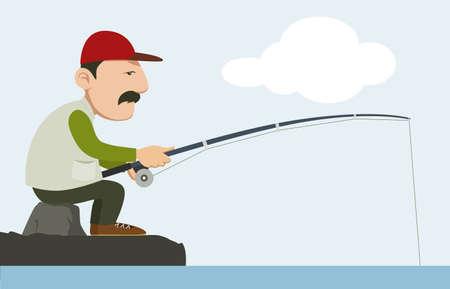 fishing pole: fisherman holding a fishing pole  Illustration
