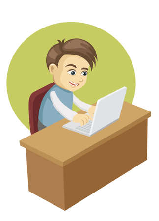 boy in front of a laptop computer Illustration