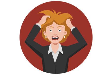 Boca Mujer frustrada abiertas enojados retención grito manos cabeza Malestar Ilustración de vector