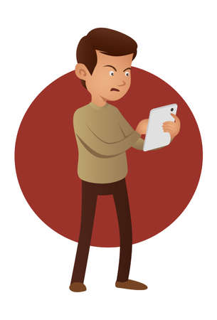 Angry man using tablet device Ilustracja