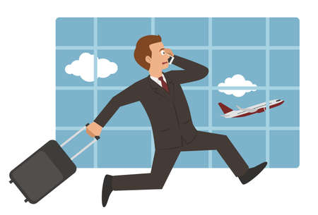 businessman with suitcase running to catch plane