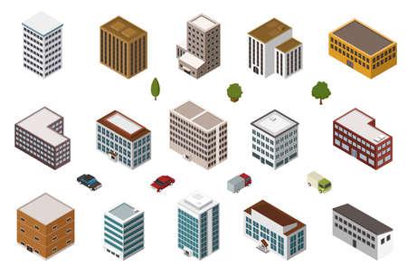 isometric buildings Illustration