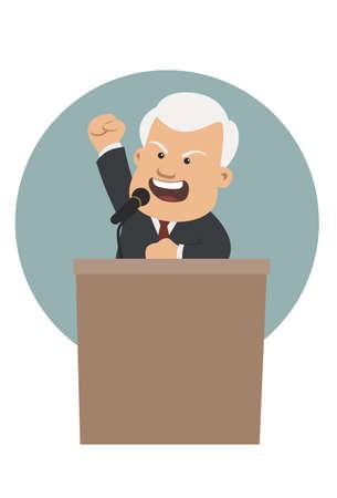 oratory: Orador está detrás de un podio