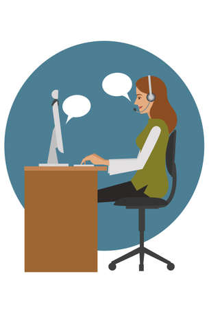 chat room: woman chat online Illustration