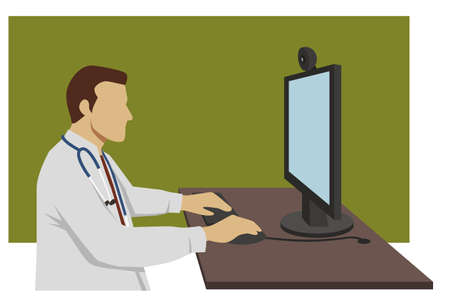 teleconference: doctor sitting at his desk in front of a computer