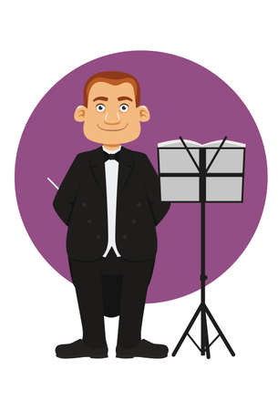cartoon of smiling male Orchestra Conductor Çizim