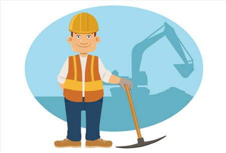 Construction Worker with a silhouette of Backhoe Ilustracja
