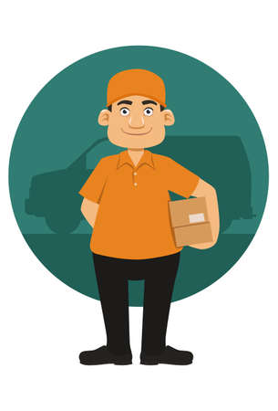 package deliverer: Delivery man with boxes