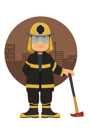 Smiling Firefighter with axe