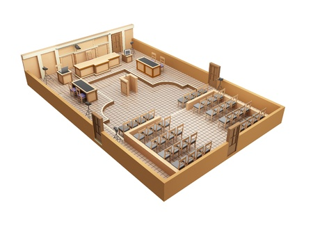 subpoena: here shows a model of a courtroom in 3D Stock Photo