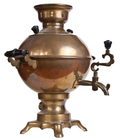 Old samovar isolated on a white background