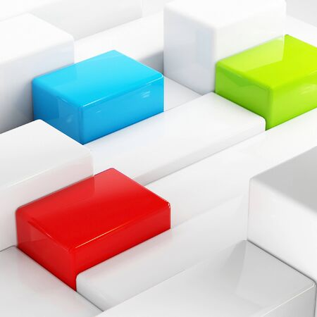 Abstraction with an array of white cubes, one red, blue and green