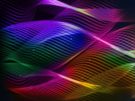 visual effect: Abstraction of luminous intertwined lines