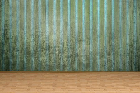 An empty room in vintage style. Dirty striped wallpaper, parquet floor Stock Photo