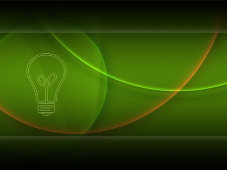 Abstract green wallpaper with a bulb on the desktop