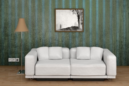 White sofa in a room on the background of old wallpaper in the style of vintage Stock Photo