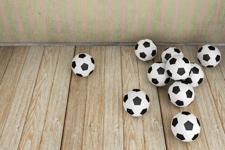 Vintage room with a lot of soccer balls Stock Photo