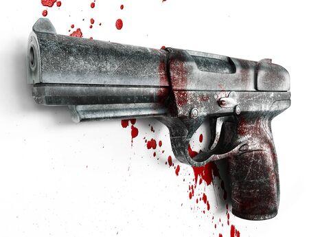 uccidere: Vecchia pistola graffiato nel sangue su sfondo bianco