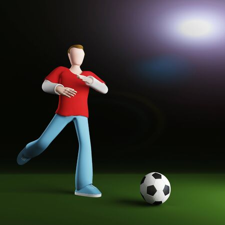3D football player receding to strike the ball. Studio lighting