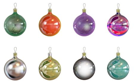 8 Christmas balls of different colors