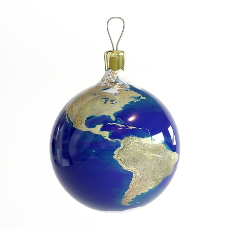 Christmas ball with map of Planet Earth photo