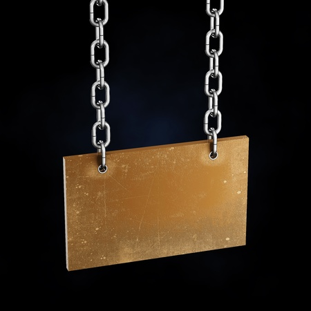 concatenation: Scarred old board hanging on the iron chains Stock Photo
