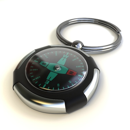 Keyholder with compass on white background