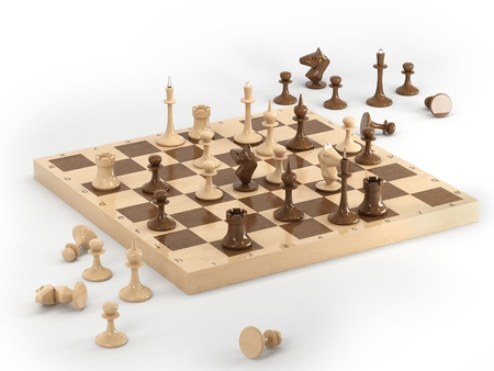 Chess on the board in 3D 写真素材