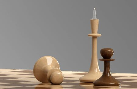 Chess on the board in 3D Stock Photo