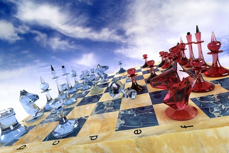 This image of chess glass of red and blue 写真素材