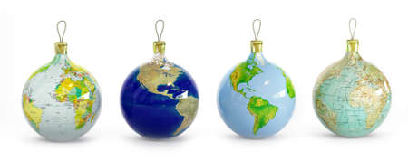 Four Christmas balls with maps of Planet Earth Stock Photo