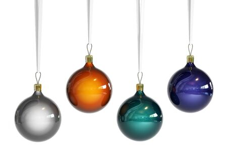 4 Christmas balls of different colors