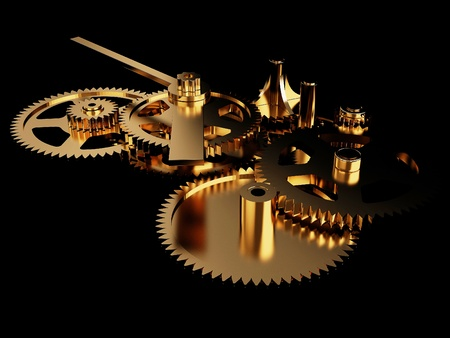 Gold clockwork, isolated on a black background with highlights