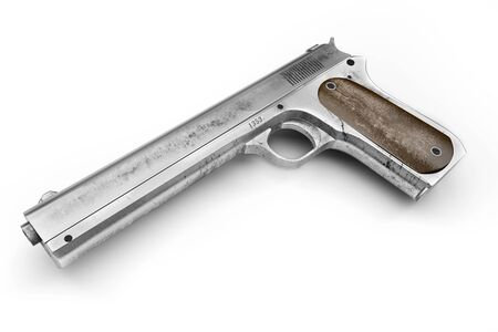 Old rusty, dirty Colt pistol, isolated on a white background