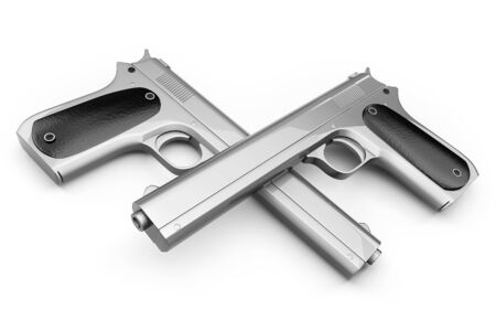Two Colt pistol, crossed with each other and isolated on a white background Stock Photo