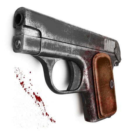 Female scratched Colt pistol, isolated on a white background 写真素材