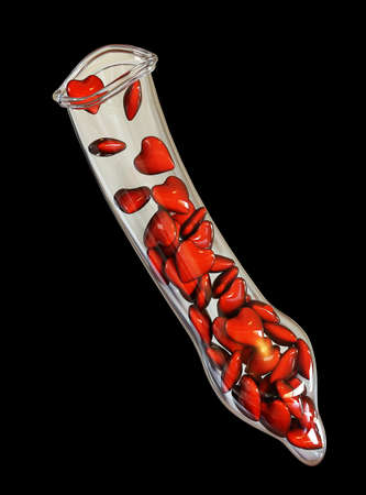 Small red hearts in a condom