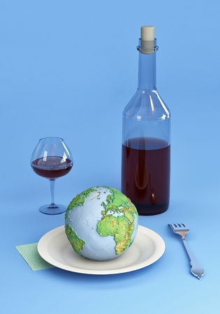 Cutlery: A bottle, glass, plate, fork and napkin. Earth on a plate