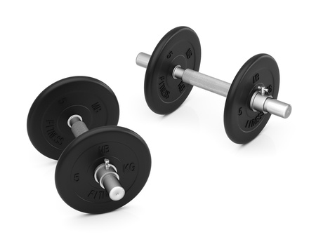 Dumbbell isolated on a white background. The mass of each - 5 kg