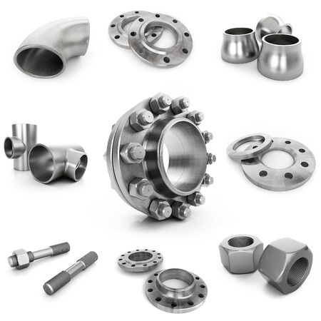 Flanges, nuts, bolts, tubes isolated on white background