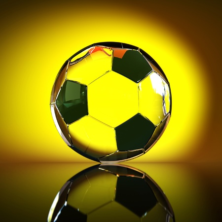 Leather soccer ball on a green gradient background