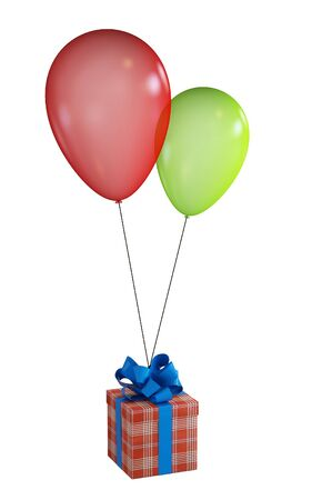 Gift, will draw a blue ribbon, flying in two balls isolated on a white background