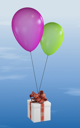 Gift, will draw a red ribbon in the sky on two balloons