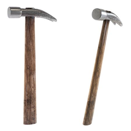 Hammer isolated on a white background in two ways. Scratched arm