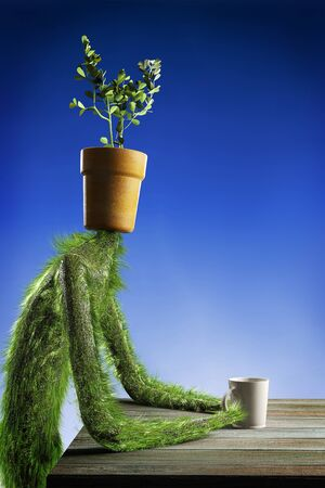 Herbal guy sitting at a table with a cup of water. Flower Pot instead of a head