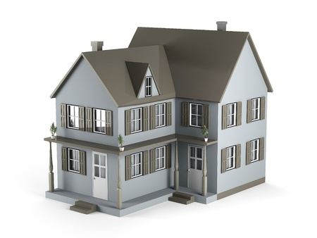 Two-storey house of gray color. 3D Graphics