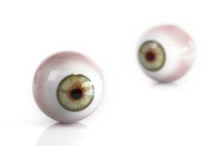 Human eyes isolated on a white background. One eye out of focus Stock Photo