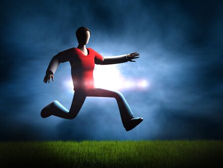 setting sun: Jumping 3D guy on the background of the setting sun and Dramatic Sky Stock Photo
