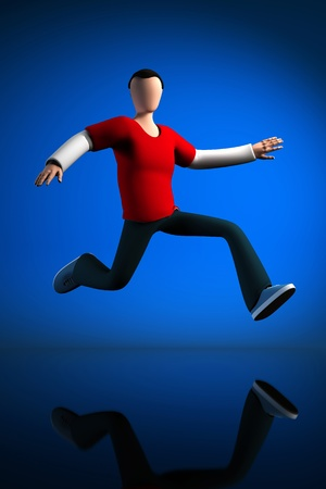3D Jumping guy, isolated on a blue background with reflection on the floor