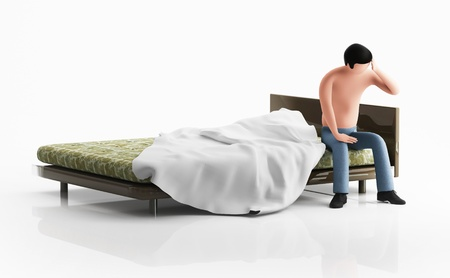 3d man sitting on the bed, thinking, or sad Stock Photo